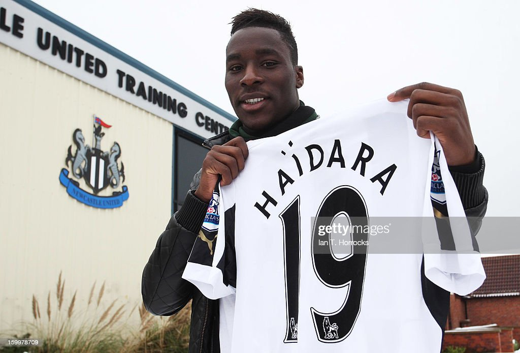 New signing Massadio Haidara of Newcastle poses with a shirt after completing his transfer to Newcastle United on January 24, 2013 in Newcastle upon Tyne, England.
