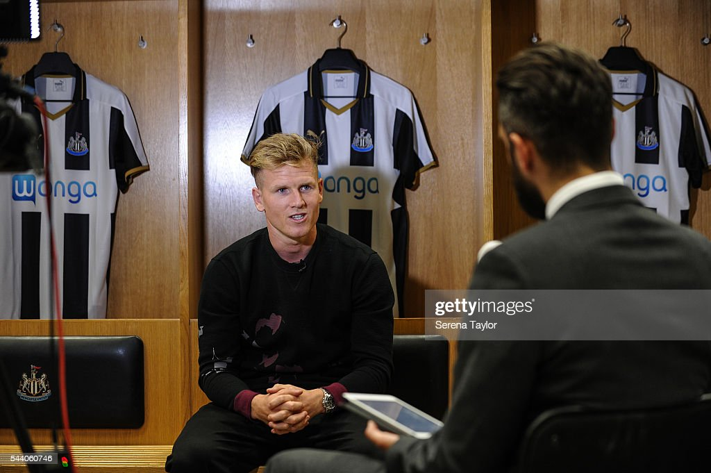 New signing <a gi-track='captionPersonalityLinkClicked' href=/galleries/search?phrase=Matt+Ritchie+-+Soccer+Player&family=editorial&specificpeople=5672743 ng-click='$event.stopPropagation()'>Matt Ritchie</a> during his first interview in the home dressing room at St.James' Park on July 1, 2016 in Newcastle upon Tyne, England.