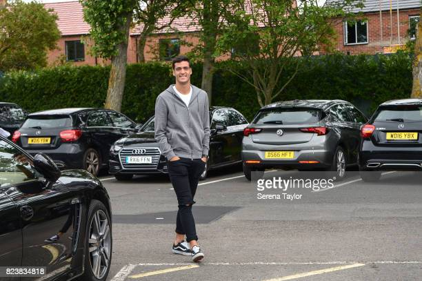 New signing Mikel Merino arrives for photographs at the Newcastle United Training Centre on July 27 in Newcastle upon Tyne England