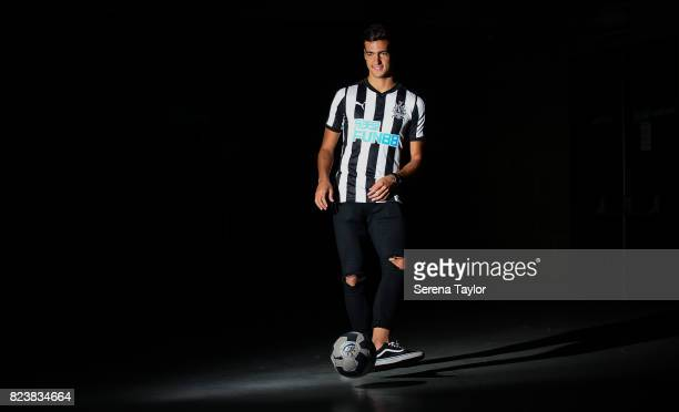New signing Mikel Merino poses for photographs at StJames' Park on July 27 in Newcastle upon Tyne England