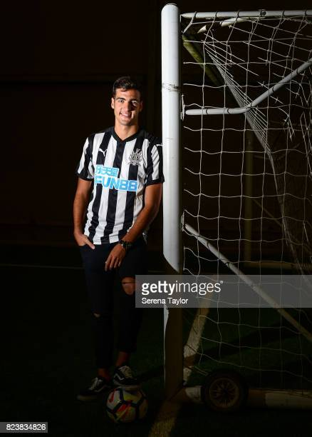 New signing Mikel Merino poses for photographs at the Newcastle United Training Centre on July 27 in Newcastle upon Tyne England