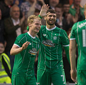 New signing Nadir Ciftci of Celtic celebrates with Gary MackaySteven after scoring during the Pre Season Friendly between Celtic and Real Sociedad at...