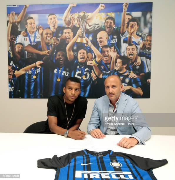 New signing of FC Internazionale Milano Dalbert Henrique Chagas Estevao signs his contract with Sportif Director of FC Internazionale Milano Piero...