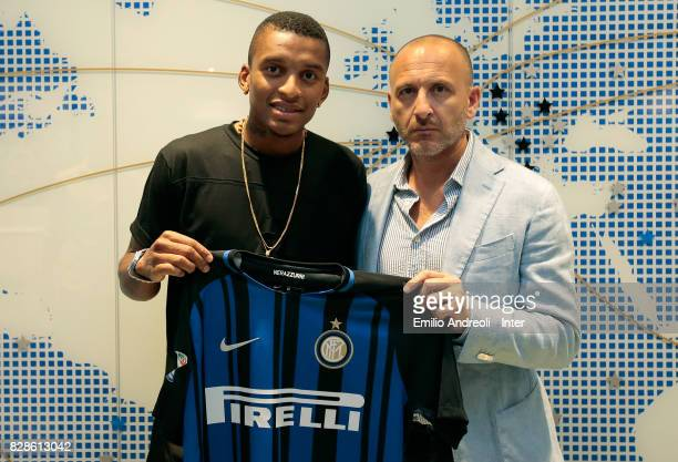 New signing of FC Internazionale Milano Dalbert Henrique Chagas Estevao poses with Sportif Director of FC Internazionale Milano Piero Ausilio at FC...