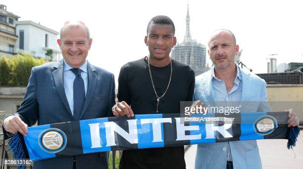 New signing of FC Internazionale Milano Dalbert Henrique Chagas Estevao poses with Sportif Director of FC Internazionale Milano Piero Ausilio and...