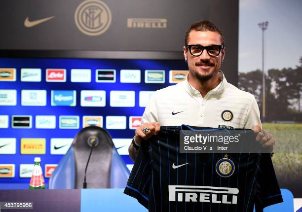 New signing Pablo Daniel Osvaldo attends FC Internazionale Milano press conference on August 7 2014 in Como Italy