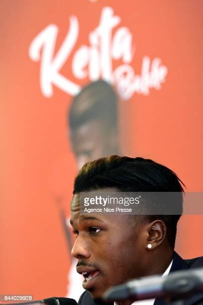 New signing player of As Monaco Balde Keita during press conference on September 7 2017 in Monaco Monaco