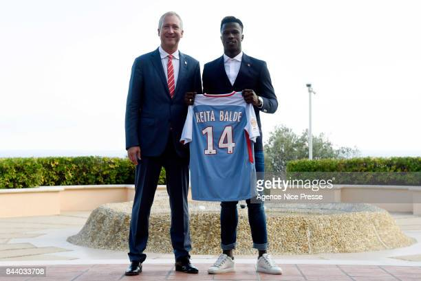 New signing player of As Monaco Keita Balde with president Vadim Vasilyev during press conference on September 7 2017 in Monaco Monaco