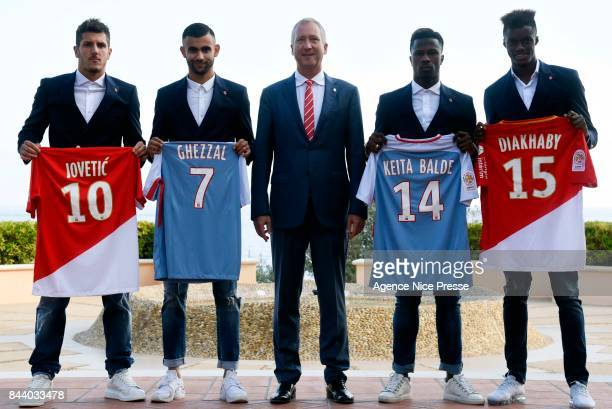 New signing player of As Monaco Stevan Jovetic Rachid Ghezzal Keita Balde and Adama Diakhaby with president Vadim Vasilyev during press conference on...