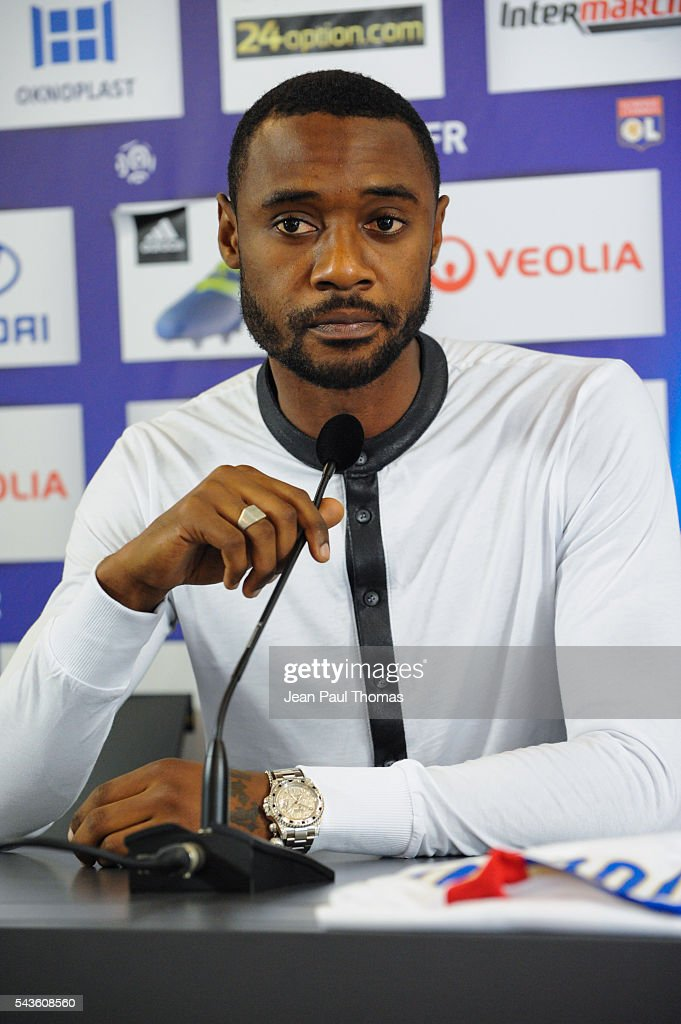 New signing player of Olympique Lyonnais Nicolas Nkoulou during press conference on June 29, 2016 in Lyon, France.