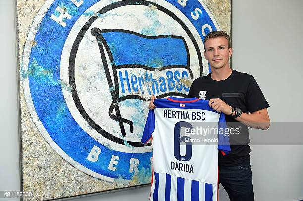 New signing player Vladimir Darida of Hertha BSC during his unveiling at Hertha BSC office on July 17 2015 in Berlin Germany