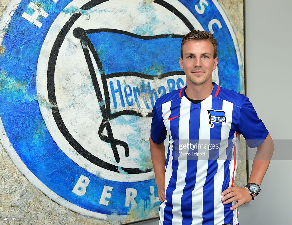 New signing player <a gi-track='captionPersonalityLinkClicked' href=/galleries/search?phrase=Vladimir+Darida&family=editorial&specificpeople=8709674 ng-click='$event.stopPropagation()'>Vladimir Darida</a> of Hertha BSC during his unveiling at Hertha BSC office on July 17, 2015 in Berlin, Germany.