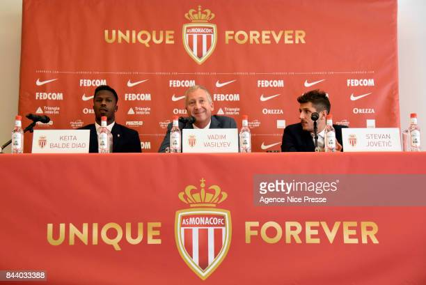 New signing players of As Monaco Keita Balde and Stevan Jovetic with president Vadim Vasilyev during press conference on September 7 2017 in Monaco...