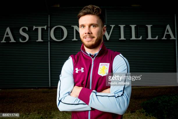 New signing Scott Hogan of Aston Villa poses for a picture at the club's training ground at Bodymoor Heath on January 31 2017 in Birmingham England