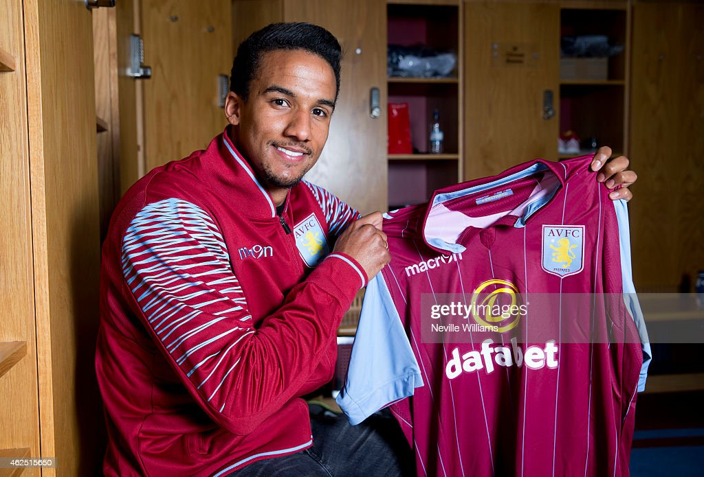 New signing Scott Sinclair of Aston Villa poses for a picture at the club's training ground at Bodymoor Heath on January 28, 2015 in Birmingham, England.