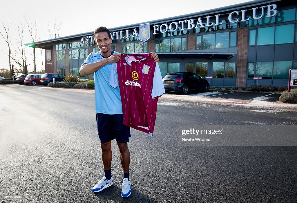 New signing Scott Sinclair of Aston Villa poses for a picture at the club's training ground at Bodymoor Heath on January 30, 2015 in Birmingham, England.