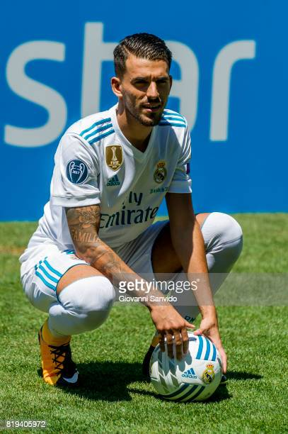New signing Spanish midfielder Dani Ceballos of Real Madrid is unveiled at the Santiago Bernabeu stadium at Bernabeu on July 20 2017 in Madrid Spain