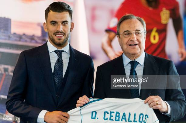 New signing Spanish midfielder Dani Ceballos of Real Madrid poses with Florentino Perez President of Real Madrid at the Santiago Bernabeu stadium at...