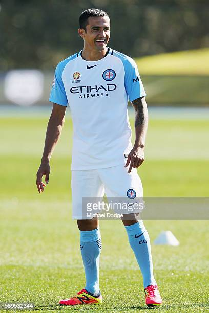 New signing Tim Cahill reacts during a Melbourne City ALeague press conference at La Trobe University Sports Fields on August 15 2016 in Melbourne...