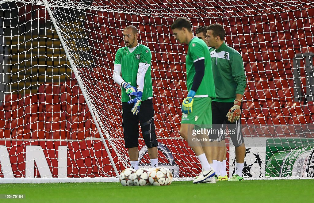 New signing today Miran Borjan of PFC Ludogorets Razgrad puts his gloves on ready for a training session ahead of their UEFA Champions League group B...