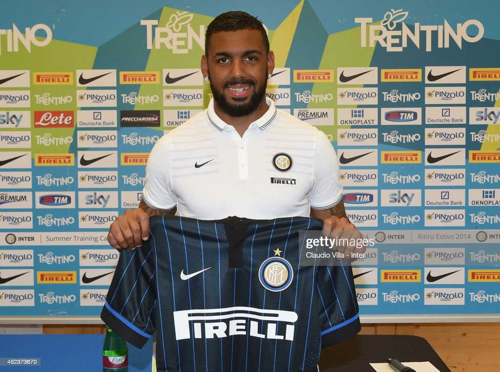 New signing <a gi-track='captionPersonalityLinkClicked' href=/galleries/search?phrase=Yann+M%27Vila&family=editorial&specificpeople=6130765 ng-click='$event.stopPropagation()'>Yann M'Vila</a> poses for photographs during the press conference on July 19, 2014 in Pinzolo near Trento, Italy.