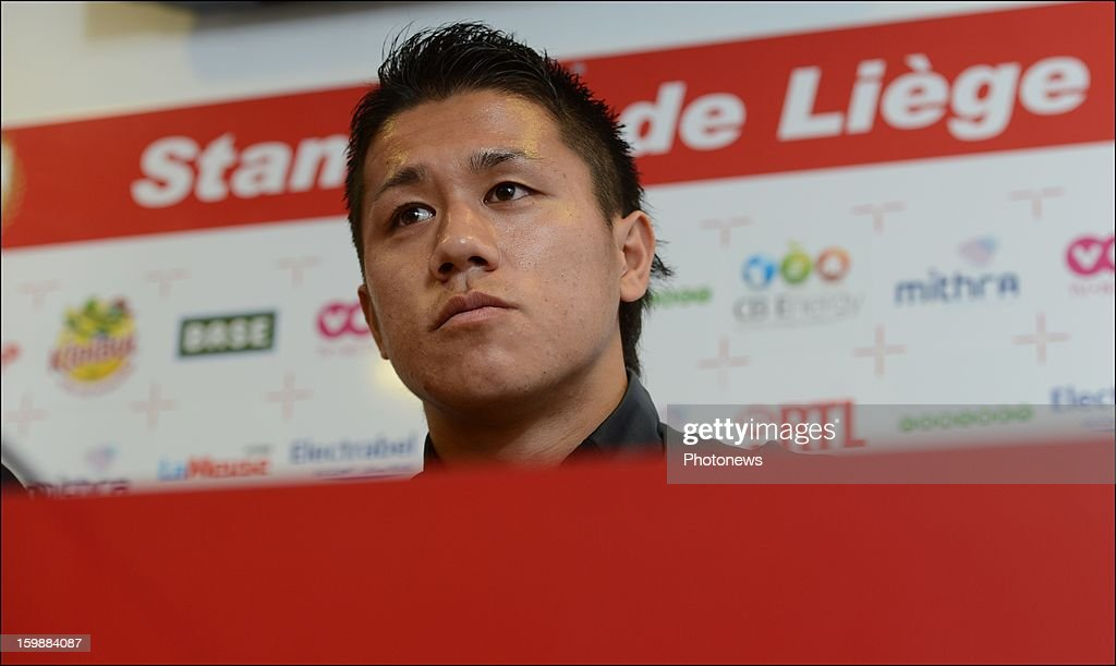New signing Yuji Ono attends a press conference to announce his signing to the club on January 22, 2013 in Liege, Belgium.