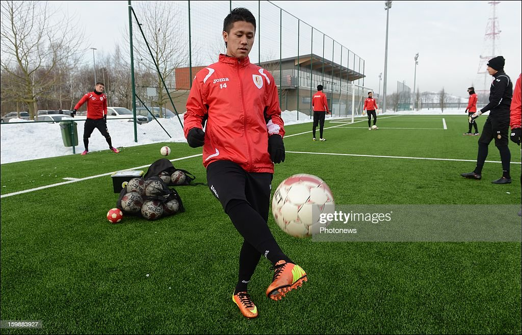 New signing Yuji Ono of Standard Liege attends a training session on January 22, 2013 in Liege, Belgium.