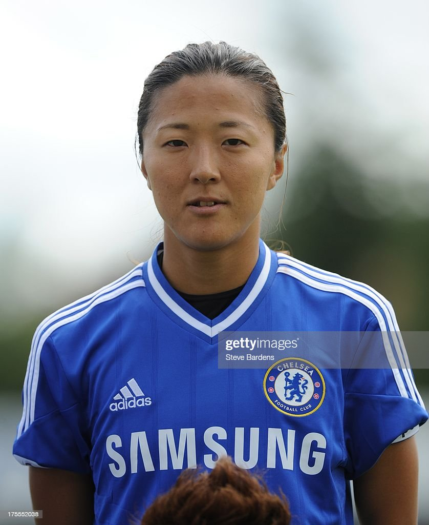 New signing <a gi-track='captionPersonalityLinkClicked' href=/galleries/search?phrase=Yuki+Ogimi&family=editorial&specificpeople=9532711 ng-click='$event.stopPropagation()'>Yuki Ogimi</a> of Chelsea Ladies FC poses before the FA Women's Super League match between Chelsea Ladies FC and Doncaster Rovers Belles Ladies FC at the Wheatsheaf Stadium on August 4, 2013 in Staines, England.