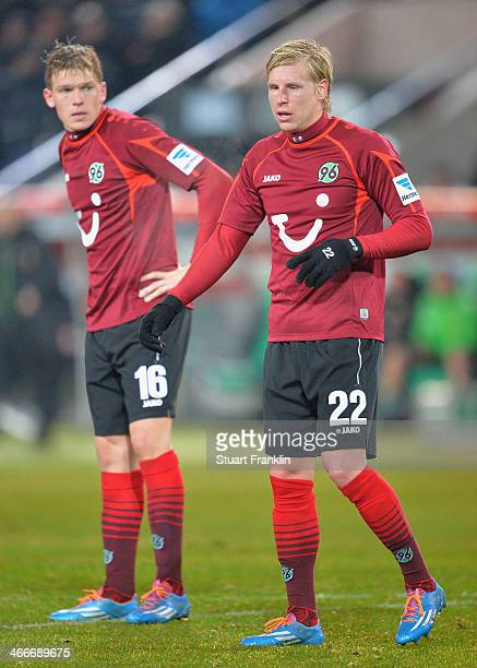 New signings Frantisek Rajtoral and Artjoms Rudnevs of Hannover look on during the Bundesliga match between Hannover 96 and Borussia Moenchengladbach...