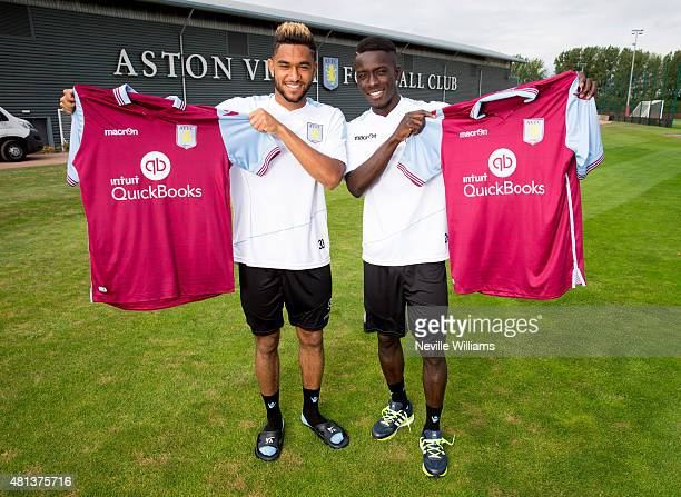 New signings Jordan Amavi and Idrissa Gueye of Aston Villa pose for pictures at the club's training ground at Bodymoor Heath on July 20 2015 in...