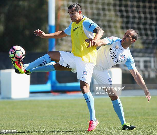 New signings Tim Cahill and Manny Muscat compete for the ball during a Melbourne City ALeague press conference at La Trobe University Sports Fields...