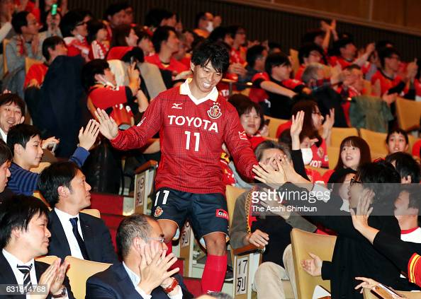 New signining Hisato Sato is introduced during the Nagoya Grampus team unveiling event on January 15 2017 in Nagoya Aichi Japan