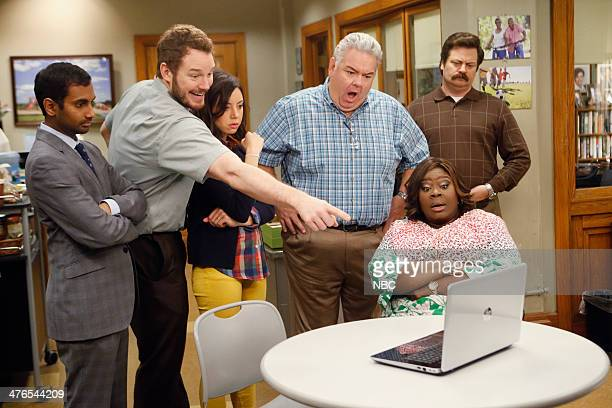 RECREATION 'New Slogan' Episode 616 Pictured Aziz Ansari as Tom Haverford Chris Pratt as Andy Dwyer Aubrey Plaza as April Ludgate Jim O'Heir as Jerry...