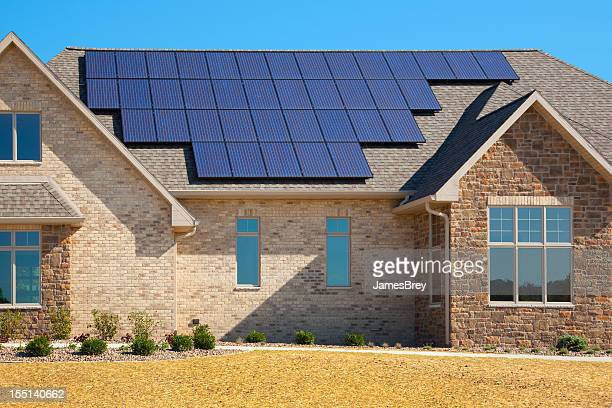 New Solar Powered Brick and Stone House