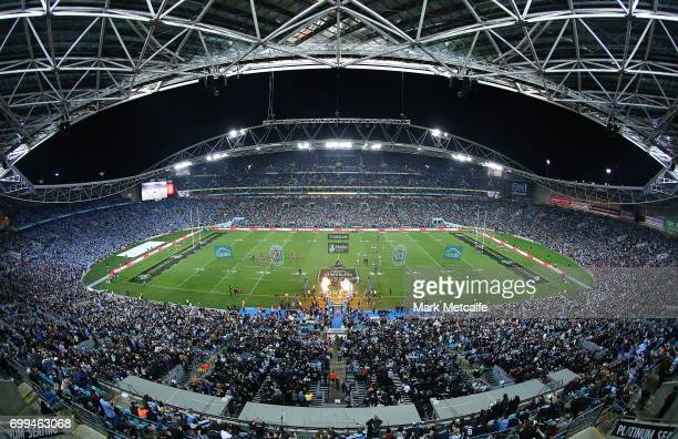 New South Wales and Queensland line up before game two of the State Of Origin series between the New South Wales Blues and the Queensland Maroons at...