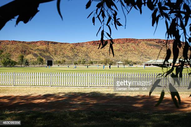 New South Wales and Tasmania play during the 20415 Imparja Cup on February 10 2015 in Alice Springs Australia