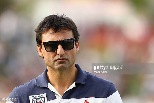 New South Wales Blues coach Laurie Daley watches on before the NSW Origin match between City and Country at Scully Park on May 8 2016 in Tamworth...