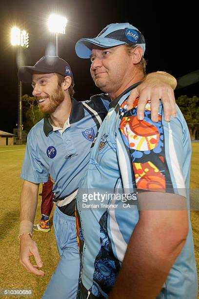 New South Wales Captain Nathan Price and Coach Jeff Cooke embrace after winning the National Indigenous Cricket Championships on February 15 2016 in...
