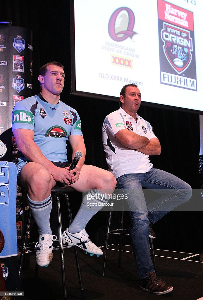 New South Wales captain Paul Gallen and coach Ricky Stuart talk to the media during a State of Origin press conference at Etihad Stadium on May 21, 2012 in Melbourne, Australia.