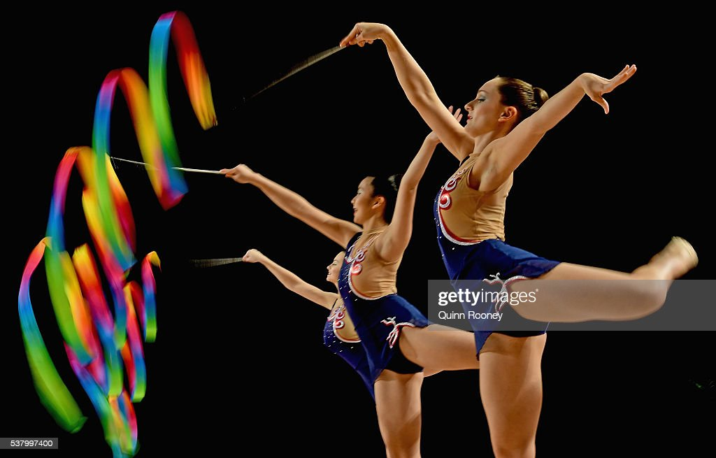 New South Wales compete in the group all round rhythmic gymnastics final during the 2016 Australian Gymnastics Championships at Hisense Arena on June...