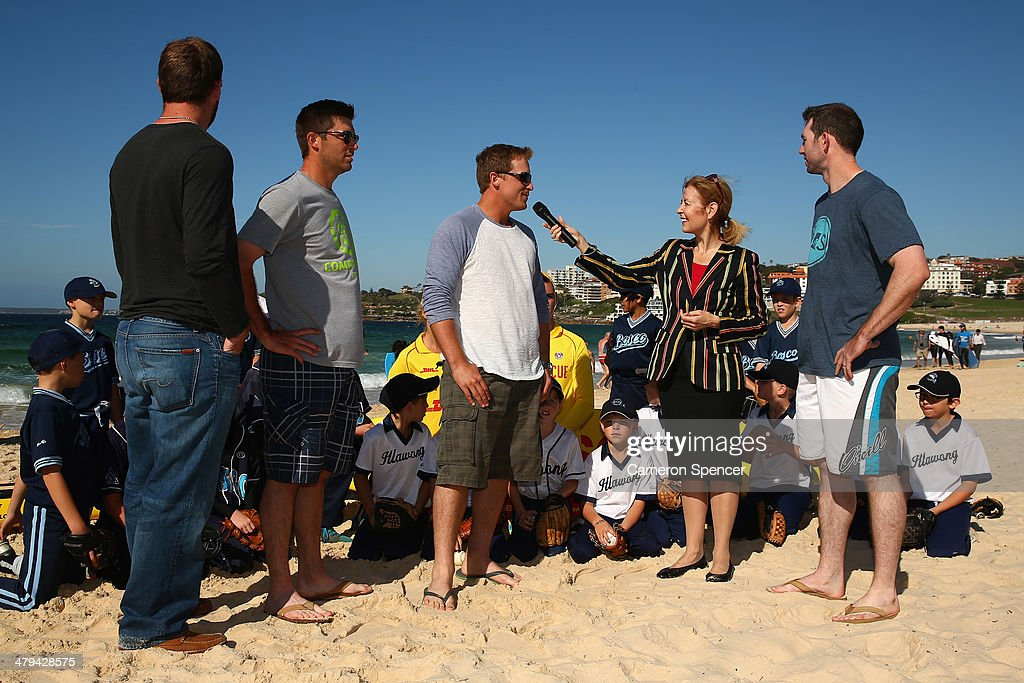 New South Wales Minister for Sport Gabrielle Upton interviews Tim Federowicz, Drew Butera, Chris Withrow and Mike Baxter of the Los Angeles Dodgers during a meet with players from Illawong and St John Bosco little league during a Los Angeles Dodgers players visit at Bondi Beach on March 19, 2014 in Sydney, Australia.