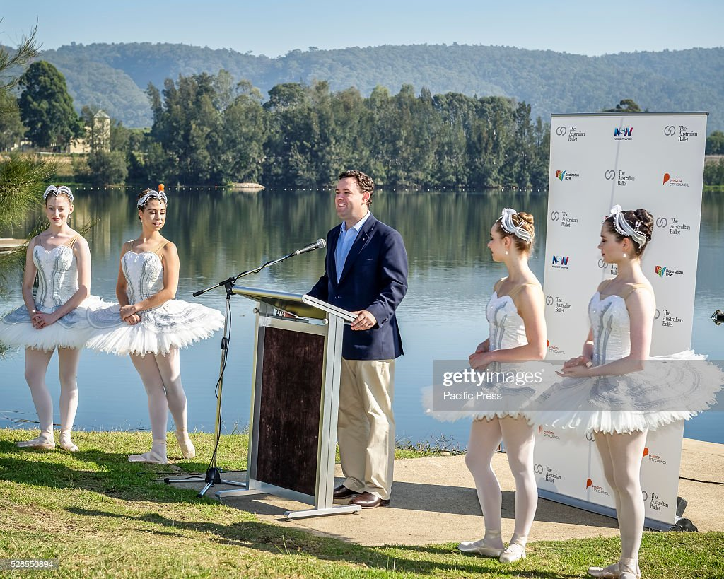 New South Wales Minister for Trade, Tourism and Major Events Stuart Ayres speaks at the The Australian Ballet launch of its community program, 'Ballet Under the Stars' at the Sydney International Regatta Centre in Penrith.