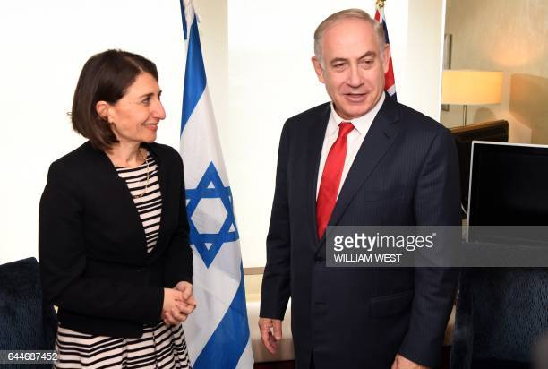 New South Wales Premier Gladys Berejiklian meets with Israel's Prime Minister Benjamin Netanyahu in Sydney on February 24 2017 Netanyahu is in Sydney...