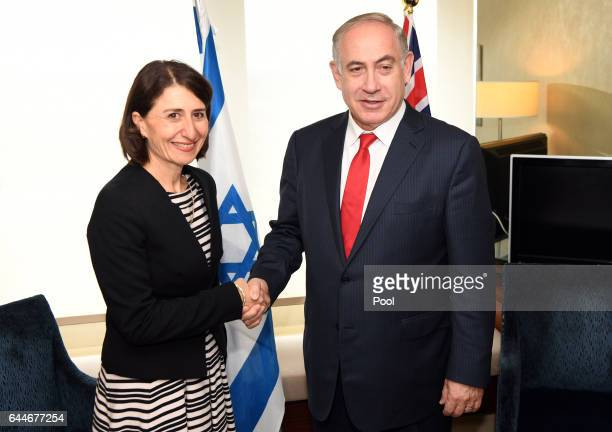 New South Wales Premier Gladys Berejiklian shakes hands with Israeli Prime Minister Benjamin Netanyahu February 24 2017 in Sydney Australia...