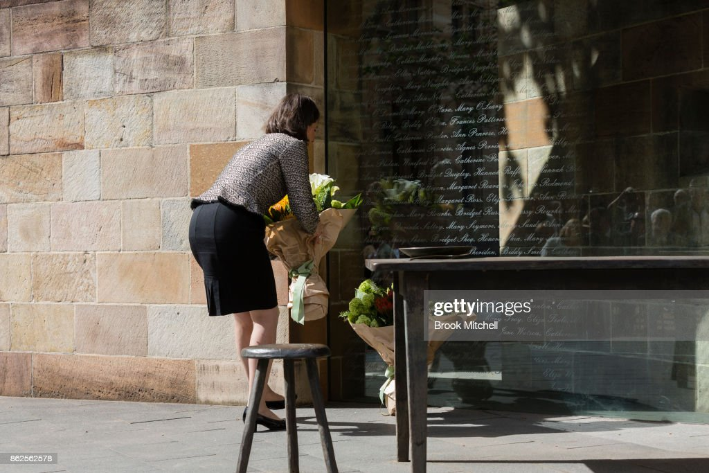 New South Wales Premiere Gladys Berejiklian lays flowers at The Australian Monument to the Great Irish Famine on October 18, 2017 in Sydney, Australia. Irish President Michael Higgins is on a three-day visit to Australia to discuss bilateral talks between the two countries.