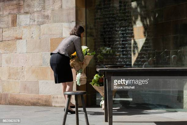 New South Wales Premiere Gladys Berejiklian lays flowers at The Australian Monument to the Great Irish Famine on October 18 2017 in Sydney Australia...