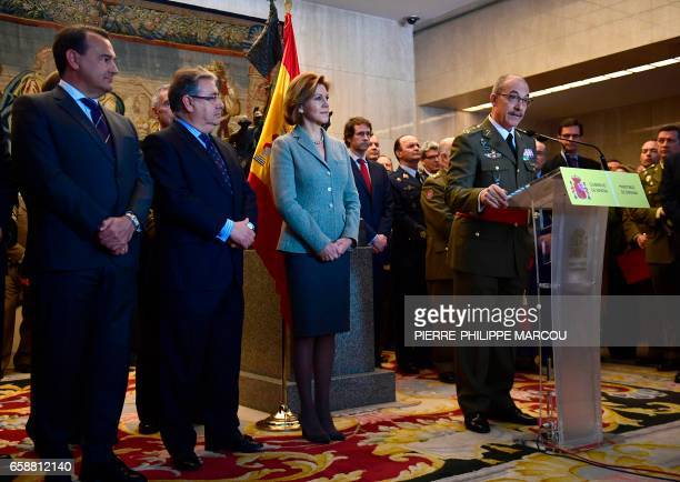 New Spanish Chief of Defence staff General Fernando Alejandre speaks during a press conference in presence of Spanish Minister of Defence Maria...