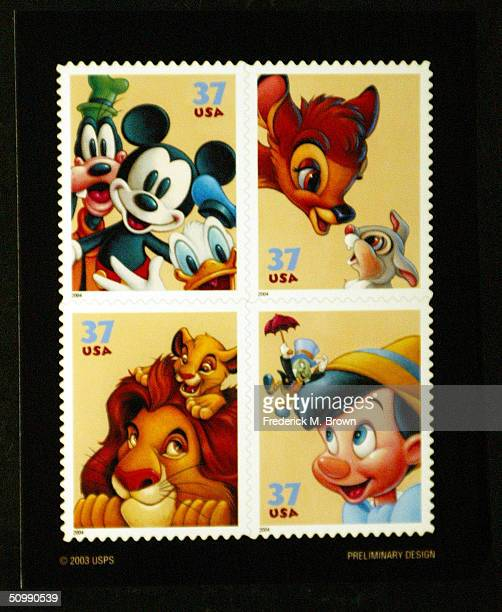 New stamp of Mickey Mouse and Friends on display during ceremony honoring Mickey Mouse and friends on new stamps postal cards and stationery at...