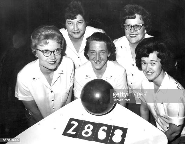 New State Pin Tourney Record The Security Mutual team of Denver shot a 2868 total last Saturday at Sterling in the 13th annual women's state bowling...