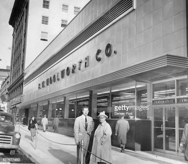 New Store Ready For Opening E J Muehlig construction engineer and LE Chance manager stand in front of the big new Woolworth store at 820 Sixteenth...